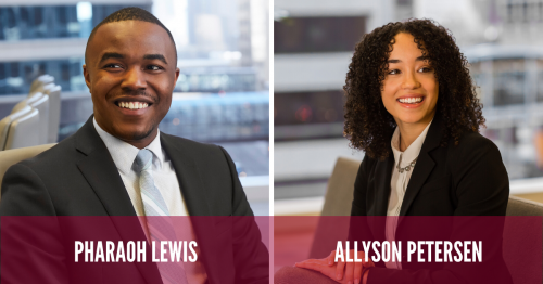Newsroom image for the post Allyson Petersen, Pharaoh Lewis Featured in MSBA's Profiles in Practice