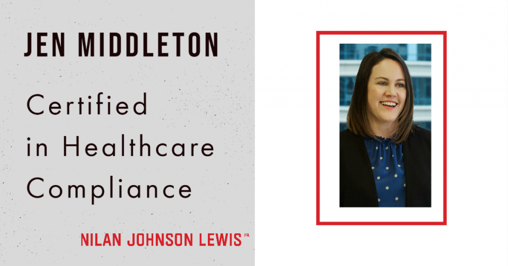 Jen Middleton Earns Certification in Healthcare Compliance