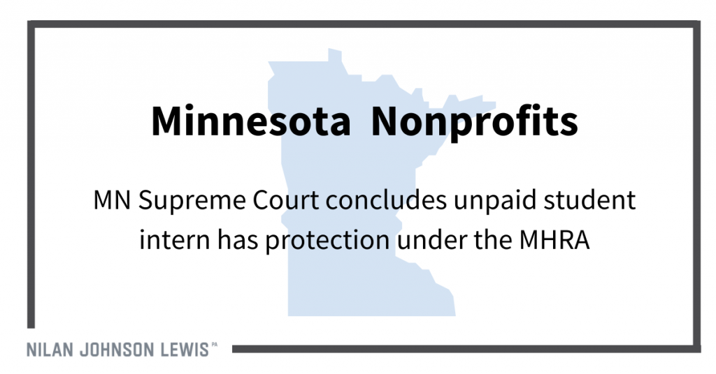 Nonprofit's Unpaid Student Intern Treated as Employee Under Minnesota Human Rights Act