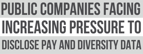 Newsroom image for the post Public Companies Facing Increasing Pressure to Disclose Pay and Diversity Data